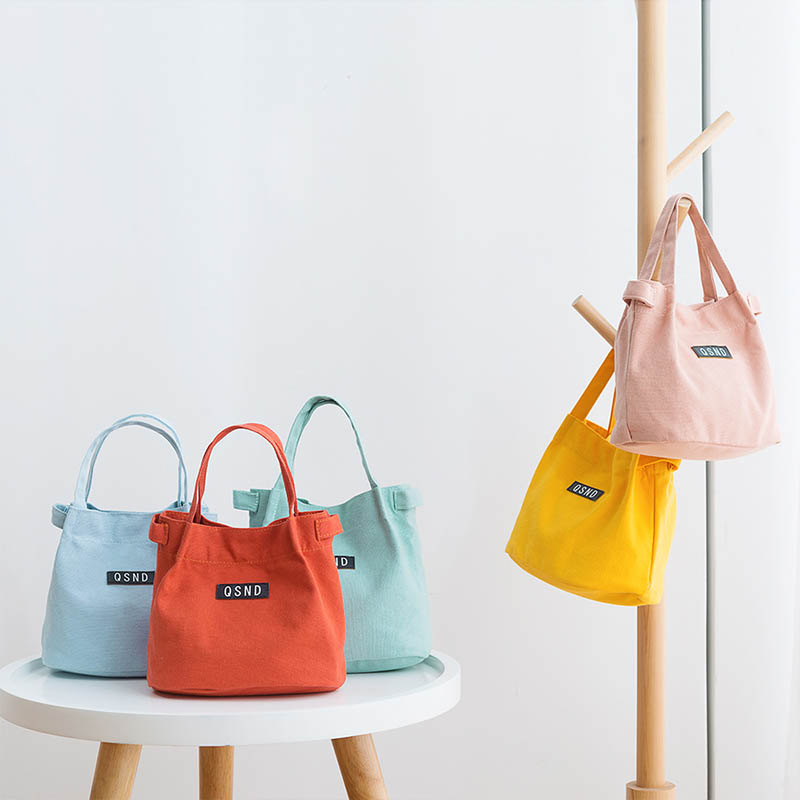 Nice Gift Women Handbag Canvas Small Fresh Simple Style Food Fruit Bags Package Bucket Pouch 1 PC Kids Lunch Bag