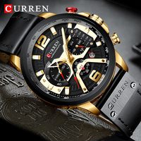 CURREN Men's Watches For Male Black Gold Top Luxury Military Leather Waterproof Watch Man Chronograph Clock Men Gift WristWatch