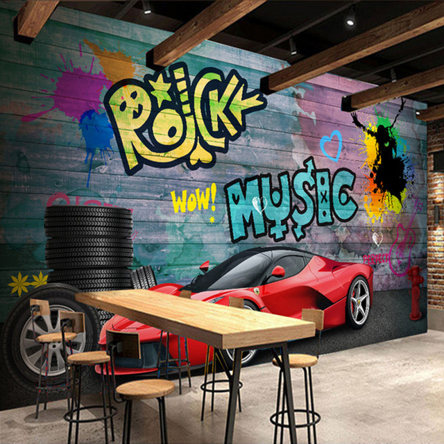 Custom Wall Mural Wallpaper Ferrari Sports Car City Graffiti Murals Papel De Parede Restaurant Cafe