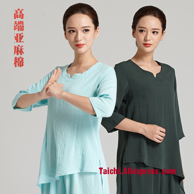 Line Martial Art Tai Chi  Unform Flax Women  Martial Arts Clothing   Performance Tai Chi Clothing