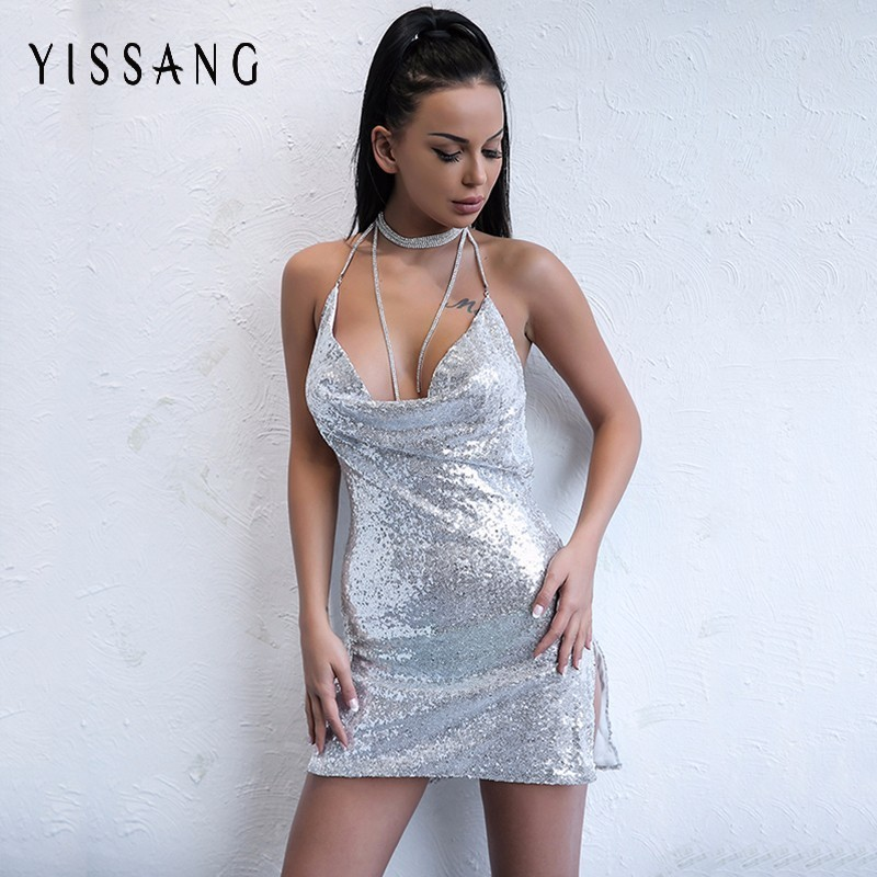 Aliexpress.com  Buy Yissang New Arrival Sequins Mesh Backless Club Dress Outfits 2018 New Chic ...