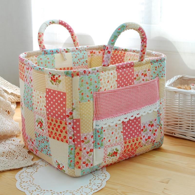 Square quilting fabric Multi color pastoral storage basket Basket of books