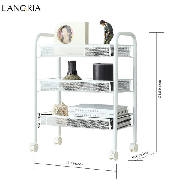 Online Shop Langria 3 Tier Storage Rack Metal Mesh Rolling Cart     Langria 3 Tier Storage Rack Metal Mesh Rolling Cart Bathroom Shelves for  Kitchen Pantry Office Bedroom Bathroom Washroom Laundry