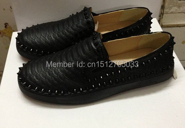 076d64a2fa2c Pure black Snake pattern pik boat gold Spikes Red soles bottom pik boat  shoes brand men women low-top Flats Genuine Leather