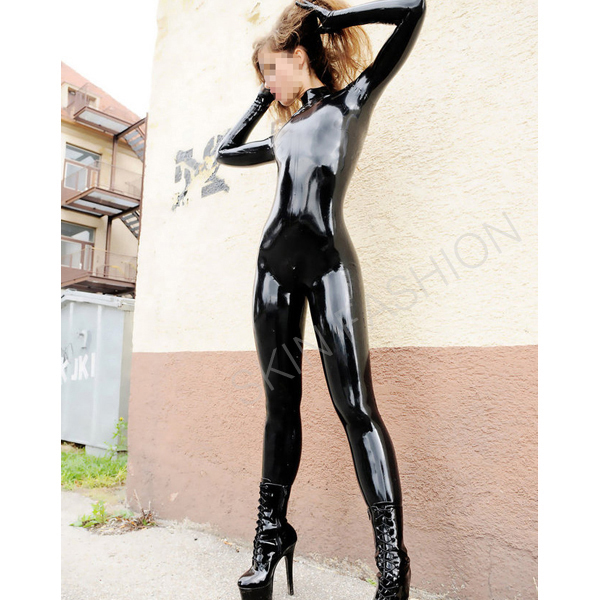 Free shipping Latex catsuits rubber fetishes body with gloves socks for women