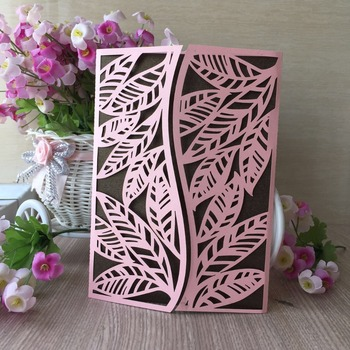 35Pcs Laser Cut Pearl paper Leaves Pattern Happy Birthday Dinner Party Wedding Invitation Cover Card Greeting Blessing card