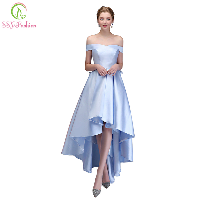 Ssyfashion New Simple Prom Dress Banquet Elegant Asymmetrical High