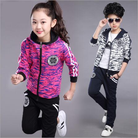 Children clothing set 2018 Spring Autumn new girls camouflage long-sleeved sports suit hooded jacket + pants 4-14 years old