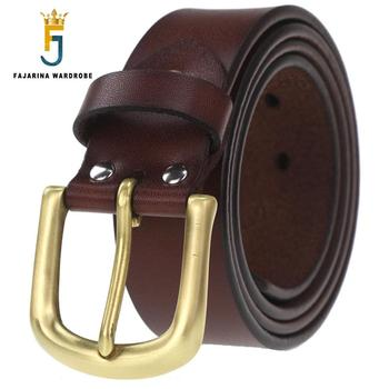 FAJARINA Nice Grade Quality Cow Skin Leather Mens Brass Clasp Buckle Cowhide Accessories Fashion Belts for Men N17FJ529