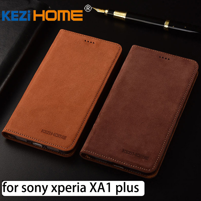for Sony XA1 plus case Flip matte genuine leather soft TPU back cover for Sony Xperia XA1 plus coque