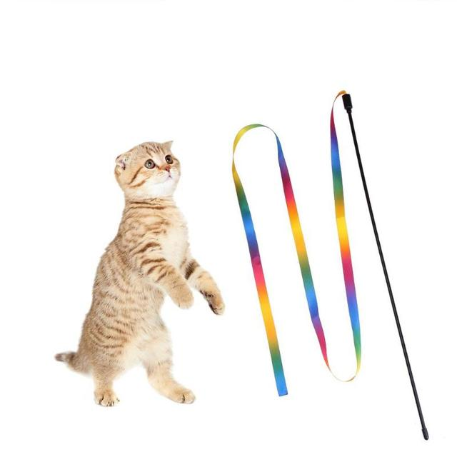 Cat Toys Cute Funny Colorful Rod Teaser Wand Plastic Pet Toys for Cats Interactive Stick Cat Supplies Scratching Toys Gifts hot