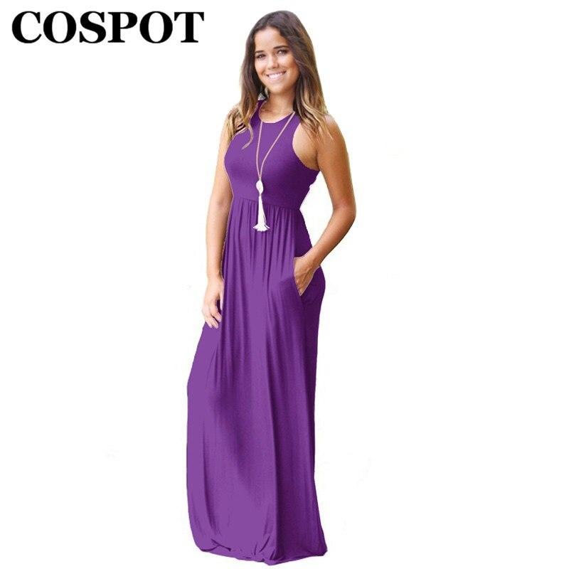COSPOT madre verano playa vestido mamá bohemio sin mangas vestido largo mujeres vestido de fiesta liso mujeres vestidos 2019 nueva llegada 40E