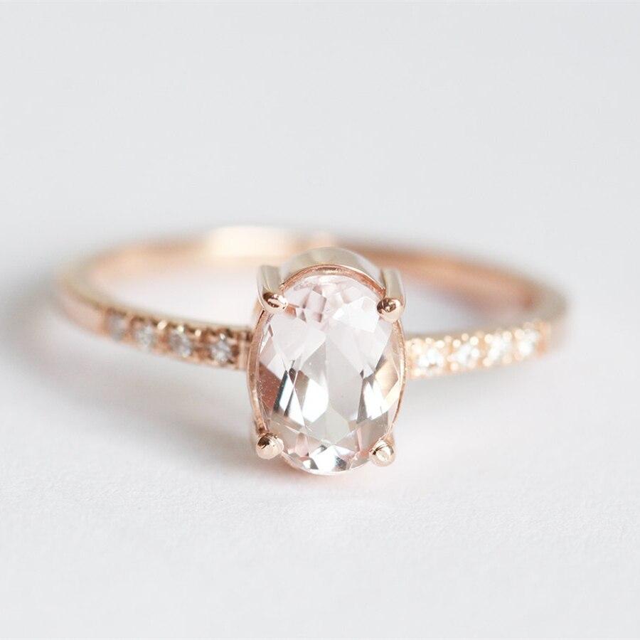Simffvn Ring For Women 0.7CT Round Cut Morganite Engagement Ring white  Topaz side stones 14k solid gold Engagement Ring