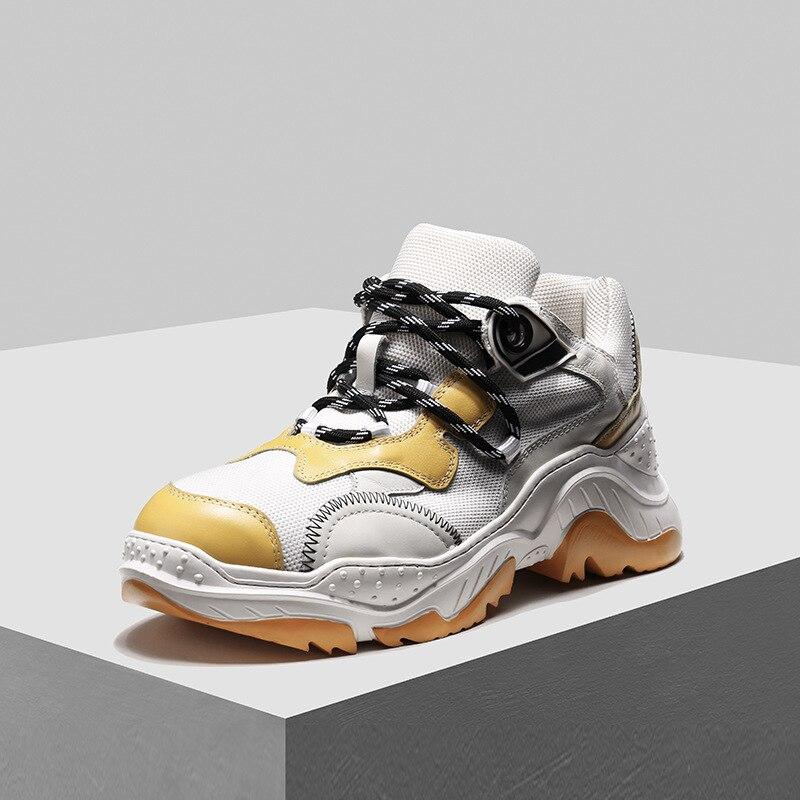 Mann Wohnungen Spitze Sommer Seak Owen Höhe Zunehmende Luxus gelb up Männer Trainer weiß Schwarzes Turnschuhe Weiße Casual Schuhe Frühling z187X8n