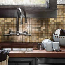 12 DIY Bronze Peel and Stick Mirror Mosaic Tile Metal Backsplash for Kitchen Walls Self-Adhesive Alloy 3D Wall Sticker 4 Sheets