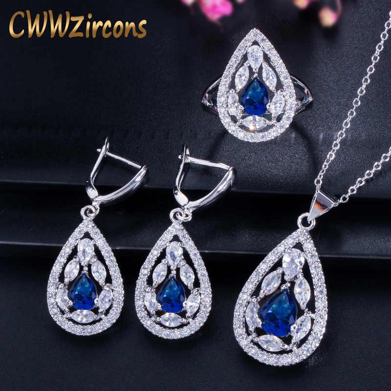 CWWZircons Marca de Moda de Nova Azul Escuro Colar de Cristal Conjunto de Jóias de Prata Esterlina 925 Brinco E Anel Para As Mulheres T286