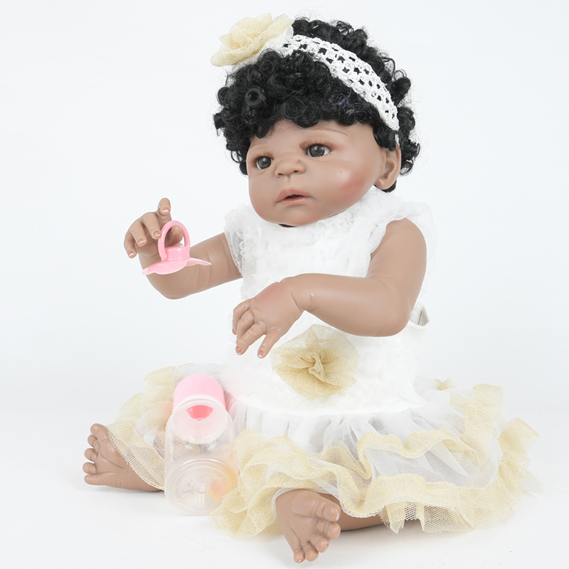 Reborn dolls girl toys 22 full body silicone reborn baby dolls curls children gift dolls bebe real reborn boneca