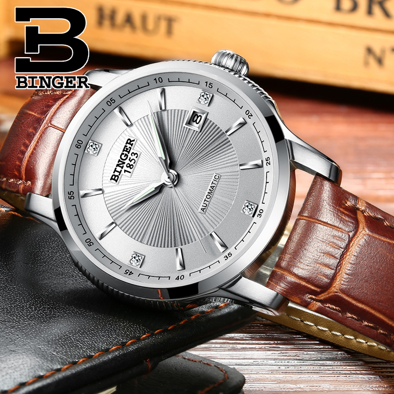 Top Brand Watches Japan Automatic Movement BINGER Men Mechanical Watch Leather Strap relogio masculino Sapphire Calendar 2017 seiko automatic movement binger top brand luxury men gold mechanical watch relogio masculino business wristwatch calendar new