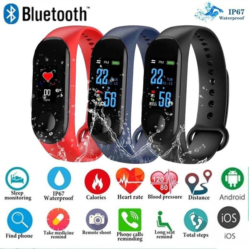 Waterproof Bluetooth Smart Bracelet Information Push Heart Rate Pedometer Heart Rate Monitor Outdoor Fitness Tracker