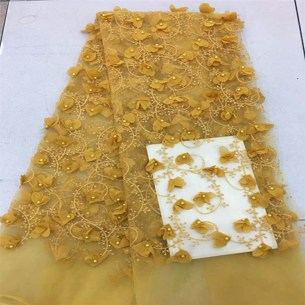 Yellow 3d Lace Fabric With Beads 5yards New African Lace Fabric 2018 High Quality 3d Flower Fabric For Dress HJ417 2