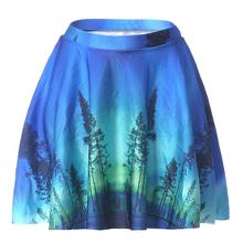 Blue  Aurora Women Sexy Pleated Skirts Tennis Bowling Bust Shorts Skirts 4XL Green Trees Female Fitness Sport Apparel A Style