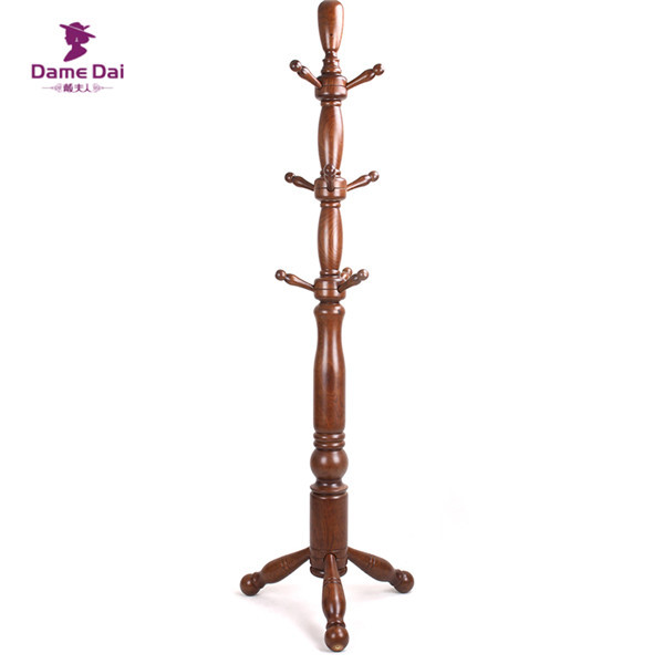 Spinning Top Wooden Floor Standing Coat Hanger Rack Tree Stand Simple Coat Hanger Rack