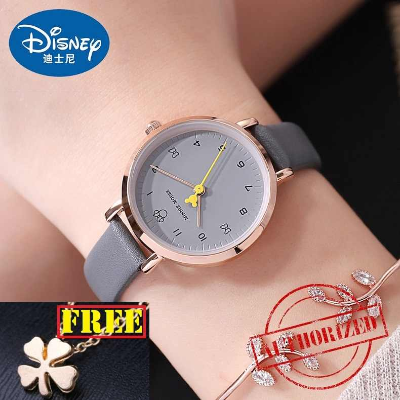Disney brand 2018 ladies wristwatches Mickey mouse genuine leather quartz womens watches waterproof number fashion woman clocks