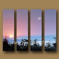 Free shipping stretched handpainted tree, moon, sun sea oil painting