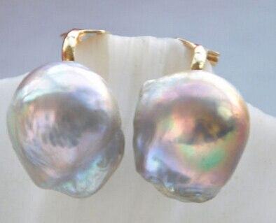 Livraison Gratuite 00334 PRESQUE RONDE violet KESHI PERLE BOUCLE D'OREILLE s'il vous plaît choix l'acheteur comme le métal 5 Style sélectionner