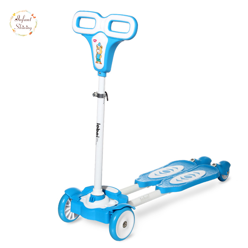 Infant Shining Frog Scooter  children 2-6 years old baby frog Four Wheel Scooter slide pulley swing car car baby scissors new the european ce standards pp plastic baby walkers scooters musical scooter for children 2 years of age or older