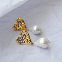Original niche design hammer face heart shaped baroque freshwater irregular Pearl ear nail earrings