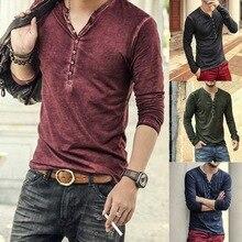 Мужская футболка с v-образным вырезом и длинным рукавом, стильная тонкая футболка на пуговицах, осенняя Повседневная Ретро однотонная мужская одежда размера плюс 3XL