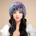 2016 Autumn And Winter  Women's Colorful Fur Hat Rex Tripod Ear Warm Winter Wool Knit Cap Thick Wool Multicolor Hat TM16