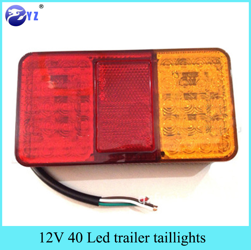 1Pcs 12V 40 Led trailer taillights tail lights Double color ...