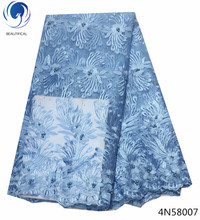 Beautifical sky blue lace fabric dress materials high end indonesia 5yards per lot new products 4N580