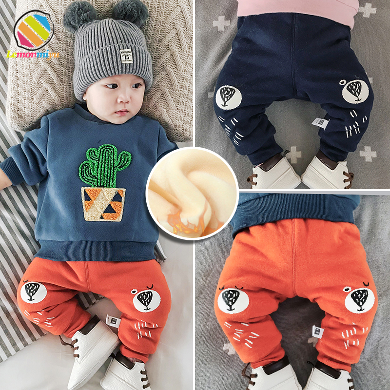 Lemonmiyu Winter Pants Baby Long-Trousers Toddler Cotton Warm Velvet Thicken Cartoon