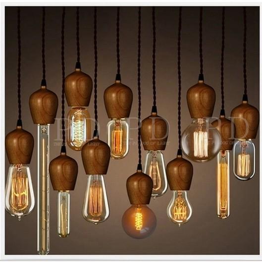 nieuwigheid vintage 12 stks wood lamp socket geweven kabels edison volledige volledig set gecombineerd verlichting bollen