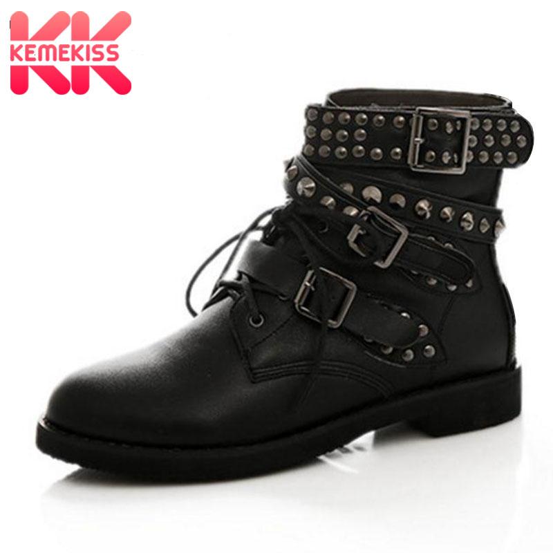 KemeKiss размеры 35–44 Для женщин Низкие ботинки на плоской подошве с заклепками с перекрестными ремешками полусапожки теплые ботинки на меху зи...