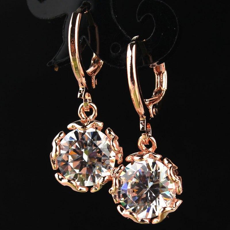 Бесплатная доставка, новинка, Лидер продаж, женские/женские золотистые яркие серьги-подвески с фианитами и кристаллами в романтическом сти...