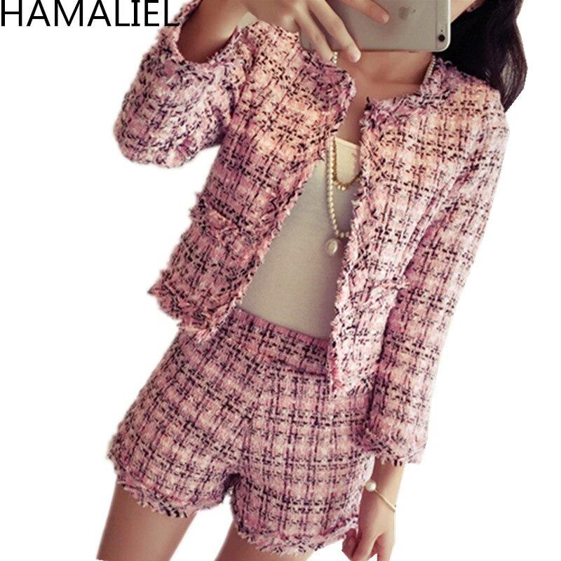 HAMALIEL S-XXL Plus Size Autumn Winter Women Tweed 2 Piece Set 2019 Fashion Slim Pink Plaid Tassel Jacket Coat + Short Suits