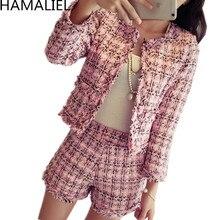 HAMALIEL S-XXL Plus Size Autumn Winter Women Tweed 2 Piece Set 2019 Fashion Slim