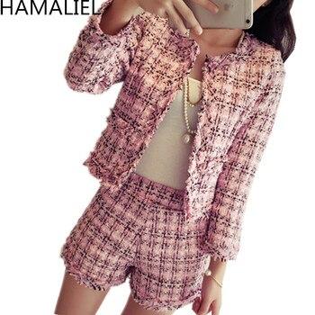Chaqueta De Lana A Cuadros | HAMALIEL S-XXL De Talla Grande Otoño Invierno Mujer Tweed 2 Piezas Conjunto 2019 Moda Delgada Rosa Plaid Tassel Jacket Coat + Short Suits