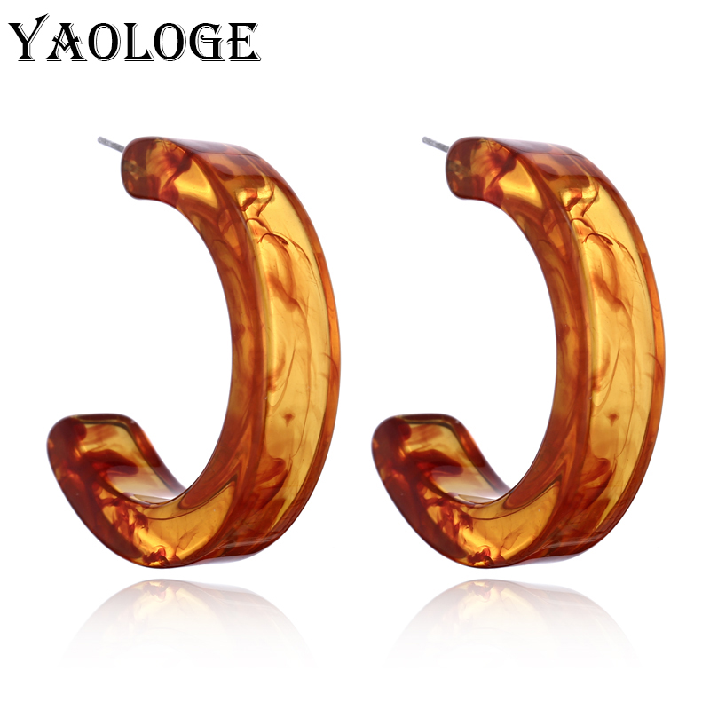 YAOLOGE Classic Semicircle Acrylic Fashion Earrings Creative Geometric Personality Vintage Statement For Women Accessories New
