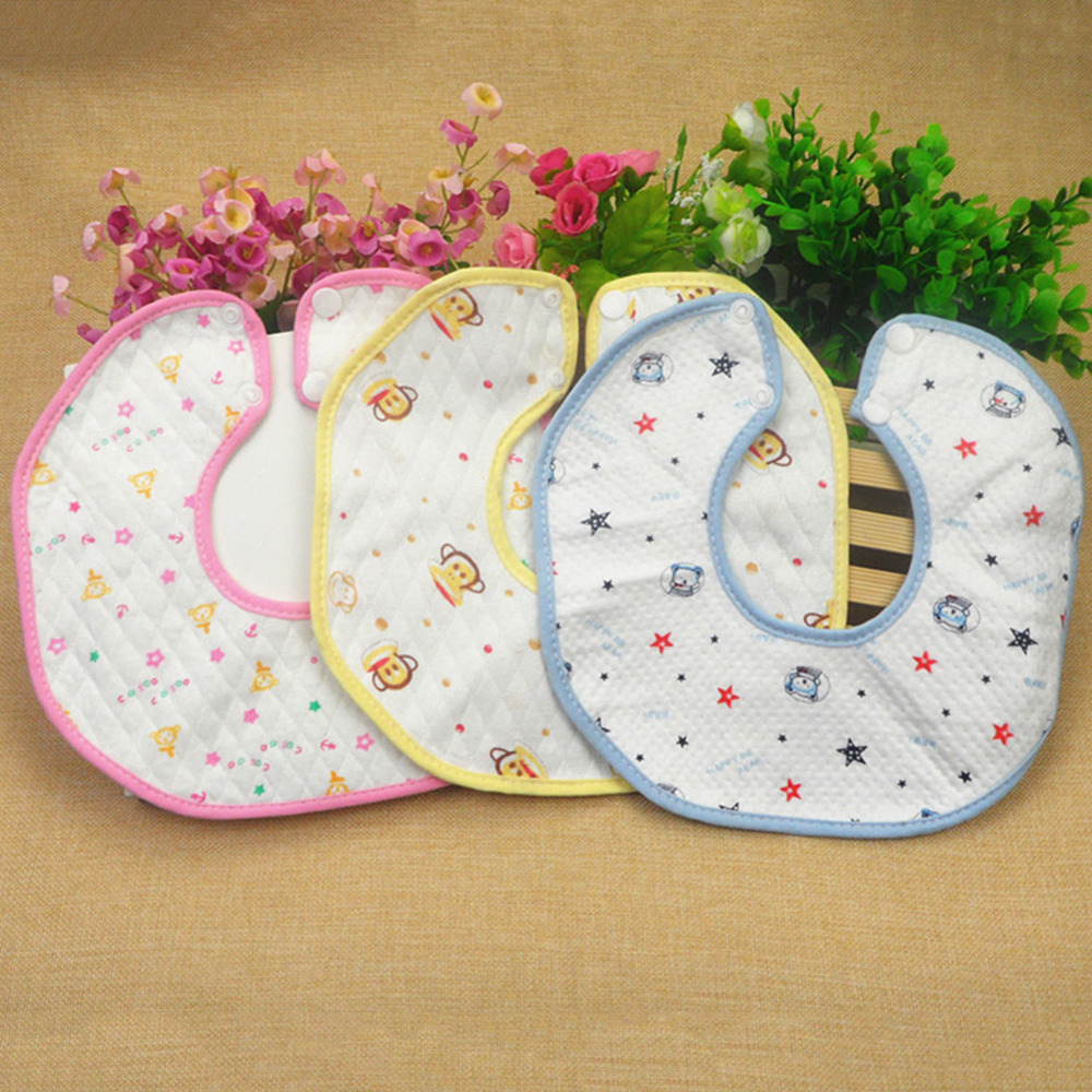 Baby Waterproof Pinny Infant Mouth Towel Octagonal Baby Bib with Hidden Button Random Delivery