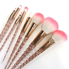 Crystal 8 PCS Unicorn Brush Makeup Brush Set Nylon Hair Eyebrow Eyeshadow Powder Brush Rose Golden Portable Brushes(China)