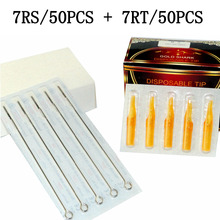 (7RS+7RT)Tattoo Kits 50PCS Disposable Tattoo Needle 7RS & Yellow 50PCS Disposable Tattoo Tips 7RT For Tattoo