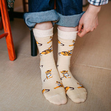 Ladies jacquard socks, cute pet dogs, orange cat, mohair pig cotton socks