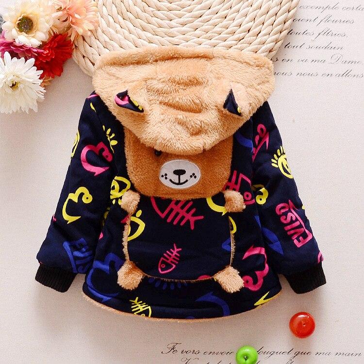 Warm Baby Kids Winter Hooded Jackets Baby Boys Hoodies Fleece Animal Coats Jackets For 1-3Y Fashion Cartoon Kids Clothes
