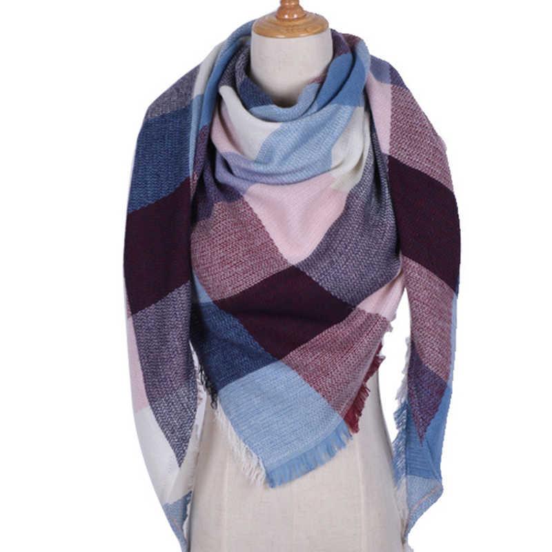 6472b0466457 Winter Warm Triangle Scarf For Women Pashmina Echarpe Triangle Shawl  Cashmere Plaid Scarves Blanket Shawls Scarf