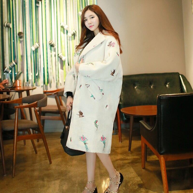 Long Hiver Manteaux Femmes Laine La Veste Épais 2017 Taille Parka Casaco Cachemire Blanc Automne Broderie Feminino Agneau Plus Manteau qSVUpMGz